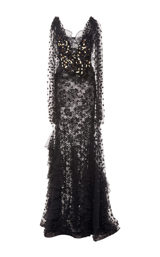 Hand Embroidered Tulle And Lace Gown by RODARTE for Preorder on Moda Operandi