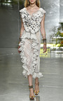 Hand Embroidered Honeycomb Tulle And Lace Dress by RODARTE for Preorder on Moda Operandi
