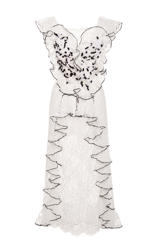 Medium rodarte off white hand embroidered honeycomb tulle and lace dress