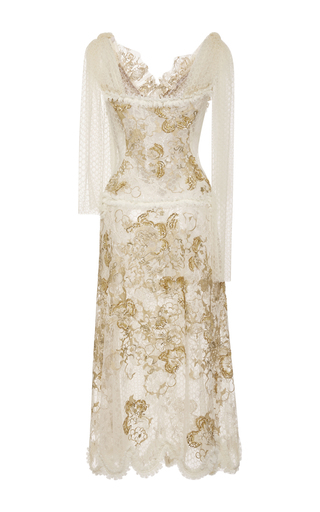 Hand Embroidered Honeycomb Tulle Dress by RODARTE for Preorder on Moda Operandi