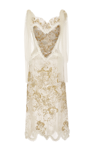 Medium rodarte gold hand embroidered honeycomb tulle dress