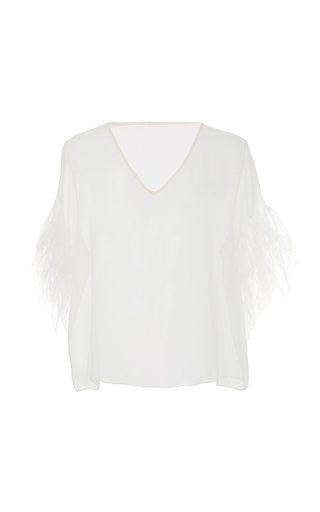 Feather Embroidery Chiffon Tee  by SALLY LAPOINTE for Preorder on Moda Operandi