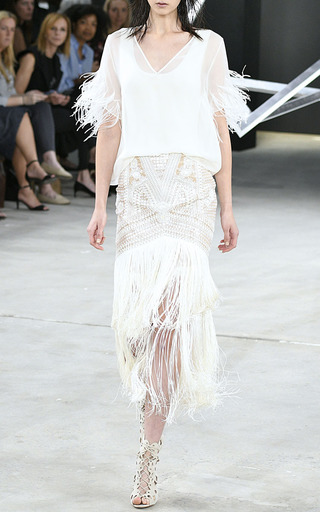 Geometric Embroidered Tiered Fringe Skirt by SALLY LAPOINTE for Preorder on Moda Operandi