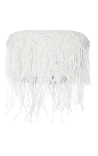 Medium sally lapointe ivory stretch viscose ostrich feather bustier