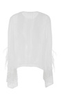 Lace & Feather Embroidery Chiffon Pintuck Blouse by SALLY LAPOINTE for Preorder on Moda Operandi