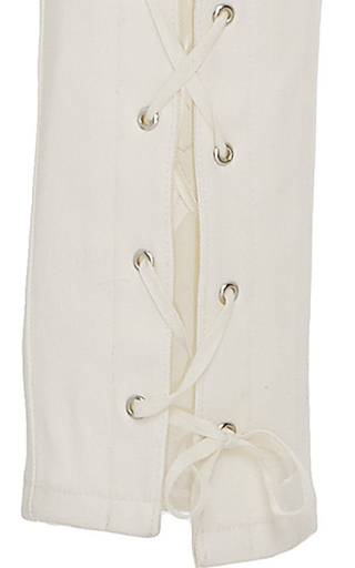 Lace Up Stretch Cotton Twill High Waisted Pant by SALLY LAPOINTE for Preorder on Moda Operandi