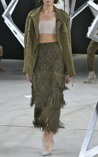 Layered Fringe Floral Embroidered Skirt by SALLY LAPOINTE for Preorder on Moda Operandi