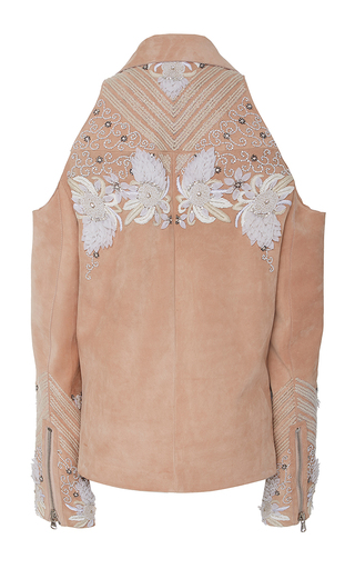 Suede Embroidered Cold Shoulder Moto Jacket by SALLY LAPOINTE for Preorder on Moda Operandi