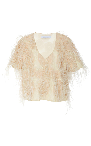 Ostrich Feather Lace Tee by SALLY LAPOINTE for Preorder on Moda Operandi