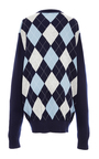 Long Sleeve Oversized Argyle Crewneck by MICHAEL KORS COLLECTION for Preorder on Moda Operandi