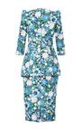 Aquamarine Embroidered Peplum Dress by MICHAEL KORS COLLECTION for Preorder on Moda Operandi