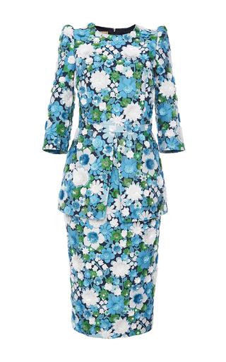 Medium michael kors multi aquamarine embroidered peplum dress