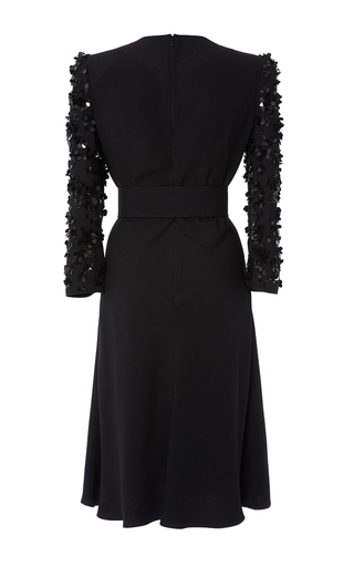 Embroidered Sleeve Tie Front Belted Dress by MICHAEL KORS COLLECTION for Preorder on Moda Operandi