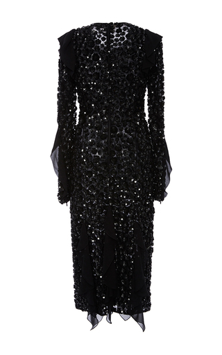 Black Embroidered Bias Ruffle Dress by MICHAEL KORS COLLECTION for Preorder on Moda Operandi