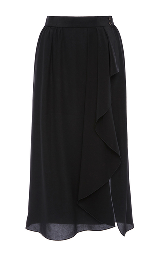 Black Wrap Skirt by MICHAEL KORS COLLECTION for Preorder on Moda Operandi