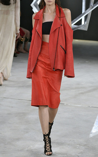 Leather Cut Out Skirt by SALLY LAPOINTE for Preorder on Moda Operandi
