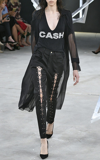 Cash Hand Embroidered T Shirt by SALLY LAPOINTE for Preorder on Moda Operandi