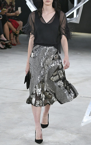 Metallic Embroidered Circle Skirt by SALLY LAPOINTE for Preorder on Moda Operandi
