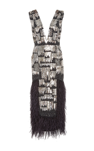 Metallic Embroidered Ostrich Feather Dress by SALLY LAPOINTE for Preorder on Moda Operandi