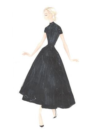 Cap Sleeve High Low Cocktail Dress Custom Black by PAOLO SEBASTIAN for Preorder on Moda Operandi