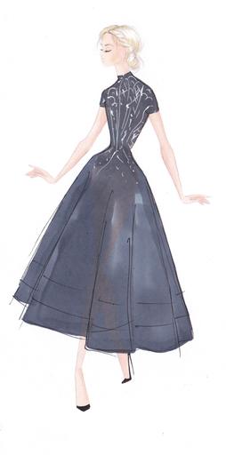 Cap Sleeve High Low Cocktail Dress  –  Custom With Plain Skirt by PAOLO SEBASTIAN for Preorder on Moda Operandi
