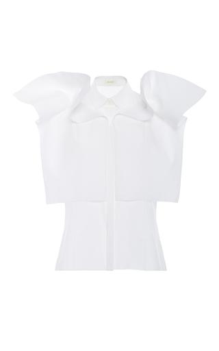 Medium delpozo white short sleeve poplin top