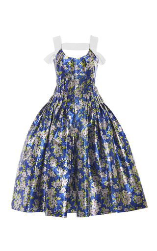 Medium delpozo print floral pleated lurex dress