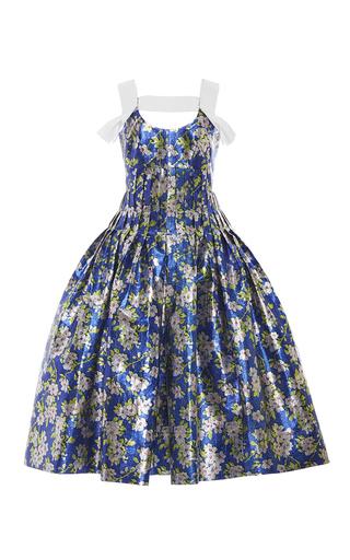 Medium delpozo print floral pleated lurex dress