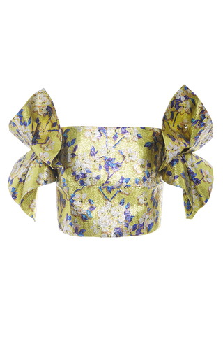 Medium delpozo print floral lurex cropped top
