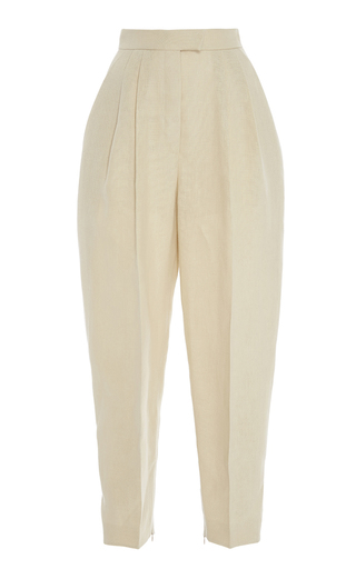Medium delpozo tan high waisted pleated trousers