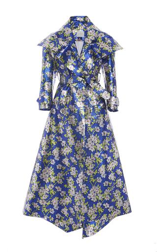 Medium delpozo print floral lurex gabardine coat