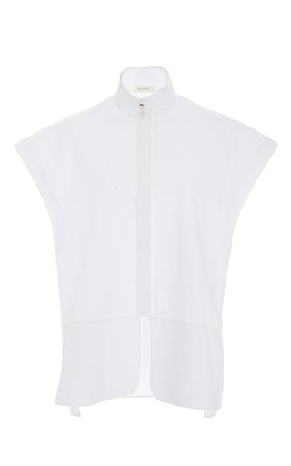 Medium delpozo white short sleeve mandarin collar top