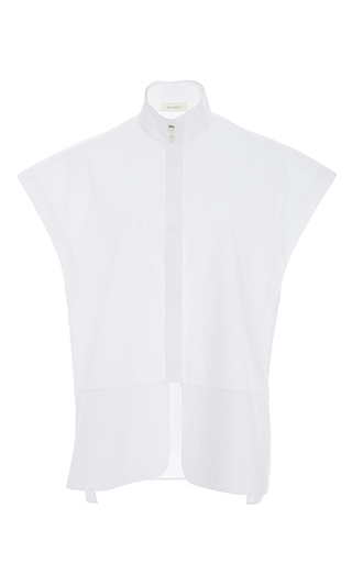 Medium delpozo white short sleeve mandarin collar top