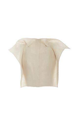 Medium delpozo tan stiffened linen jacket