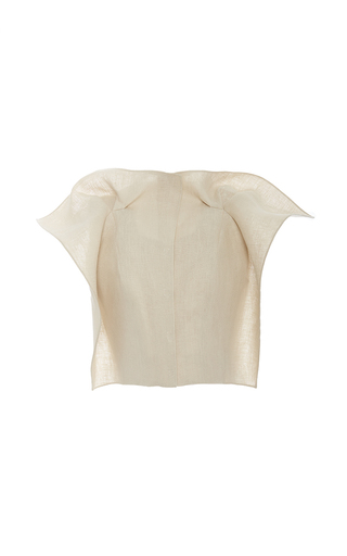 Medium delpozo tan stiffened linen jacket