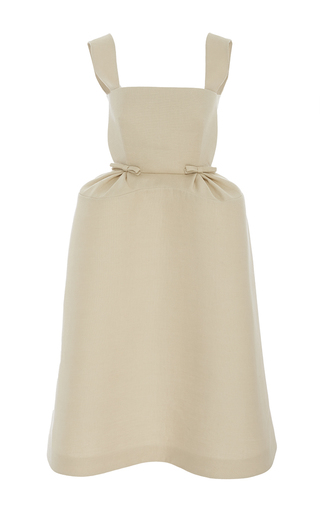 Medium delpozo tan sleeveless bib overall dress