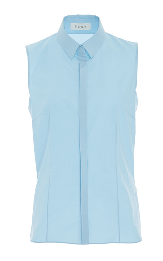 Medium delpozo light blue sleeveless collared shirt 2
