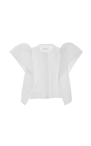 Medium delpozo white short sleeve frilled sleeve jacket