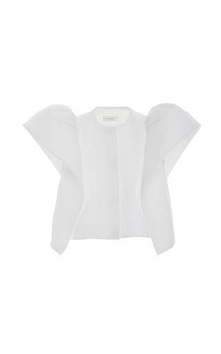 Medium delpozo white short sleeve frilled sleeve jacket