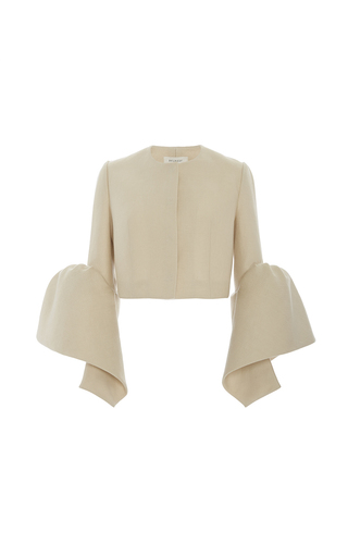 Medium delpozo tan frilled cuff jacket