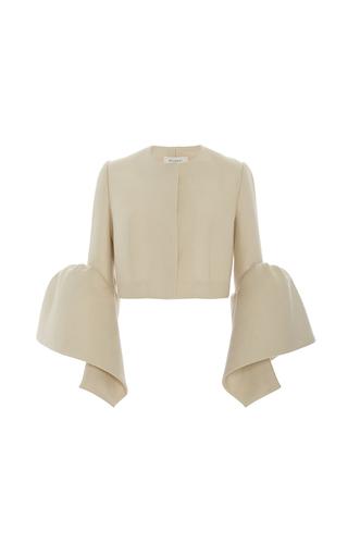 Medium delpozo tan frilled cuff jacket