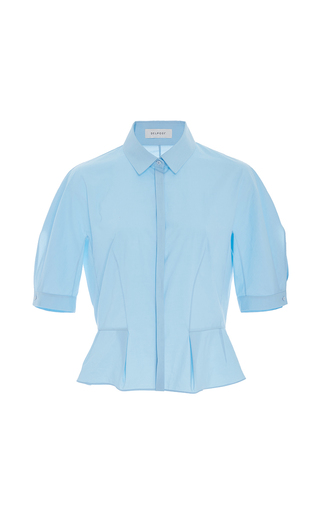 Medium delpozo light blue short sleeve collared blouse