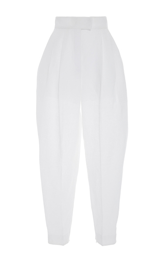 Medium delpozo white high waisted pleated trousers 2