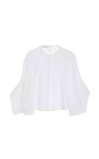 Medium delpozo white flutter sleeves poplin top