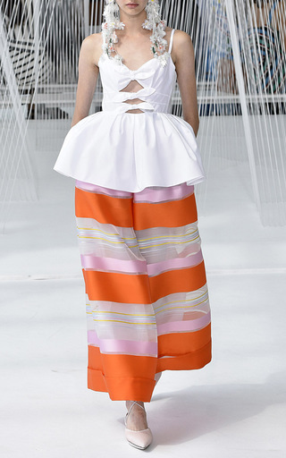 High Waisted Striped Trousers by DELPOZO for Preorder on Moda Operandi