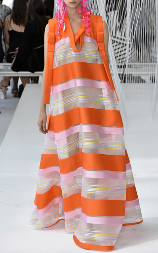 Sleeveless Striped Organza Tunic Dress by DELPOZO for Preorder on Moda Operandi
