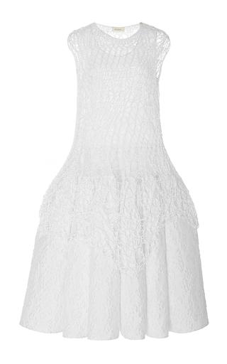 Medium delpozo white sleeveless drop waist knit and cotton dress