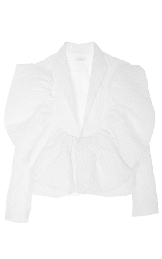 Medium delpozo white textured jacket with frills