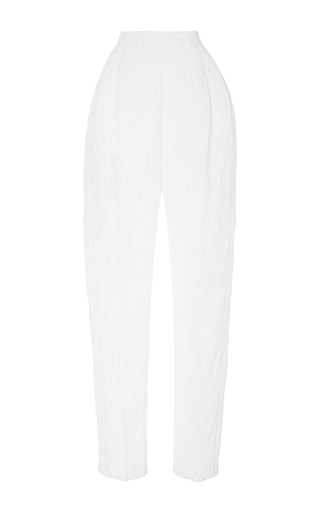 Medium delpozo white high waisted textured trousers