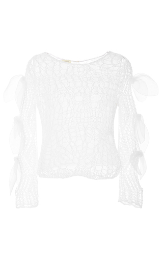 Medium delpozo white long sleeve knit top with bows